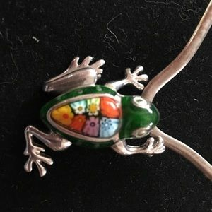 Alan K Sterling silver and millefiori Frog pendant